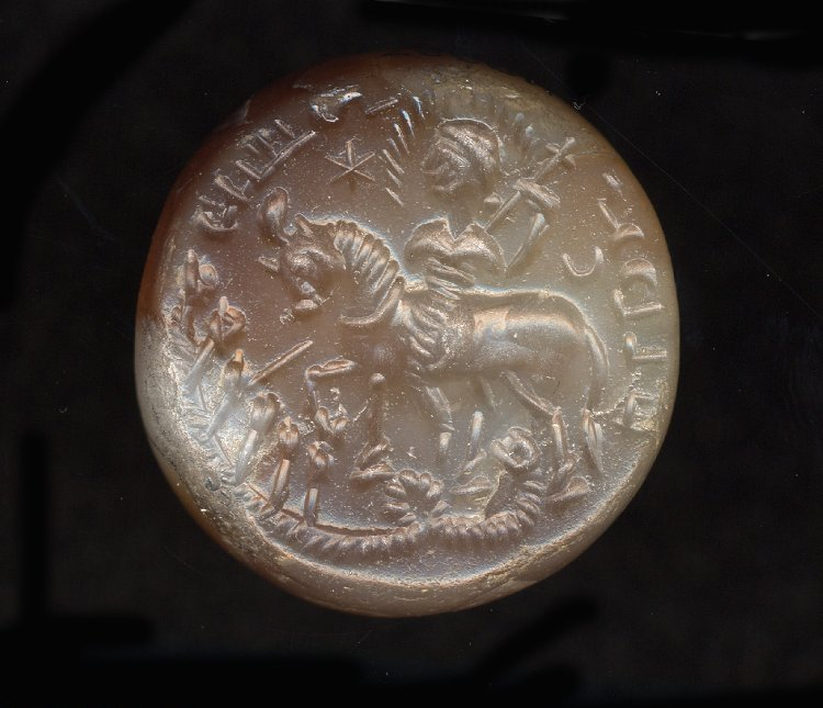 Stamp-seal showing a rider with a halo who attacks hydra, possibly with a lance, 5th century or later, Sasanian