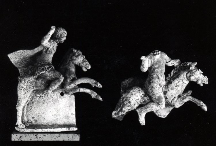 Terracotta relief attachment from an askos, showing a warrior on horseback, cr. 270-200 BC, Canosa, Apulia, Italy
