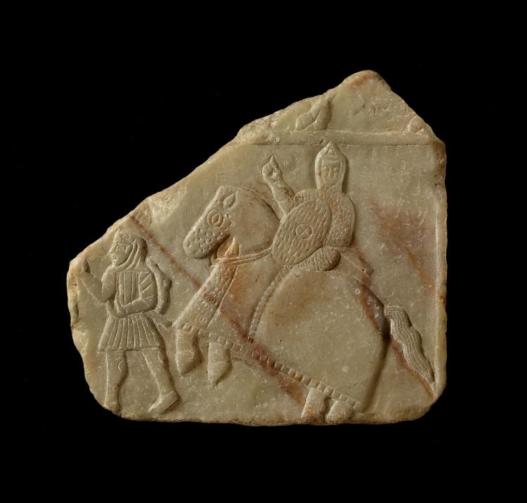 Relief depicting warrior riding a rearing horse and a foot soldier, 3rd-5th centuries, Yemen