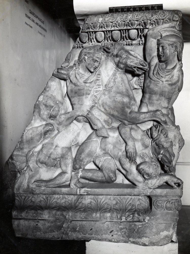 Sarcophagus with a rider falling from his rearing horse, cr. 240-260, Athens