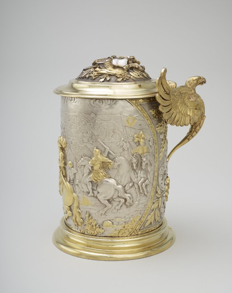 Silver tankard showing cavaliers including a marshal, probably the Stadtholder (later William III of England) (detail), cr.1830-70, Berlin (?), Germany