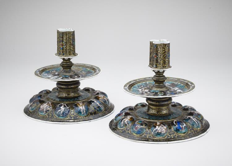 A pair of Limoges enamel candlesticks, cr. 1560, Jean de Court, Limoges, France