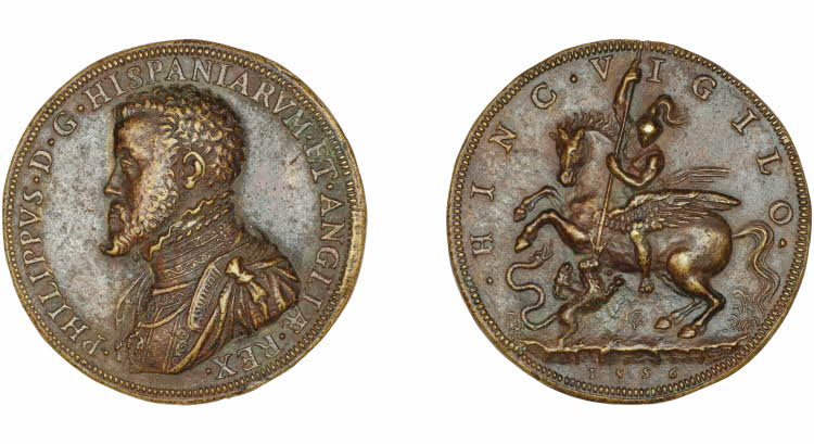 Cast bronze medal with the bust of Philip II of Spain and (reverse) Bellerophon on a rearing Pegasus, spearing the Chimaera, 1556, Gianpaolo Poggini, Spain
