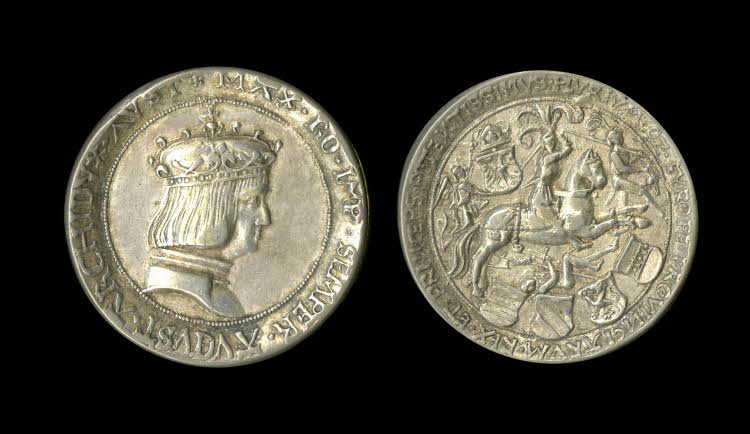 A medal with Maximilian I and a horseman trampling foot soldier and pursuing another, 1516-9, Hungary or Austria