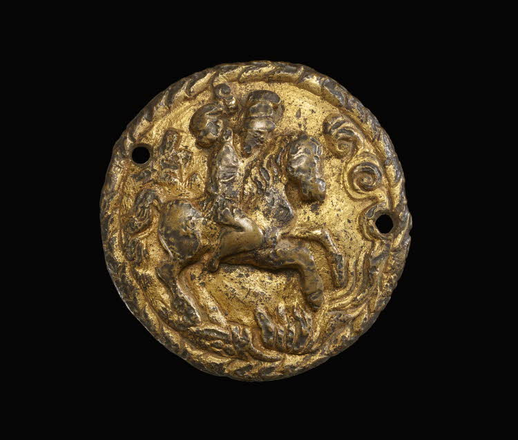 A hat badge with the figure of Marcus Curtius leaping into the chasm, 16th century, Italy
