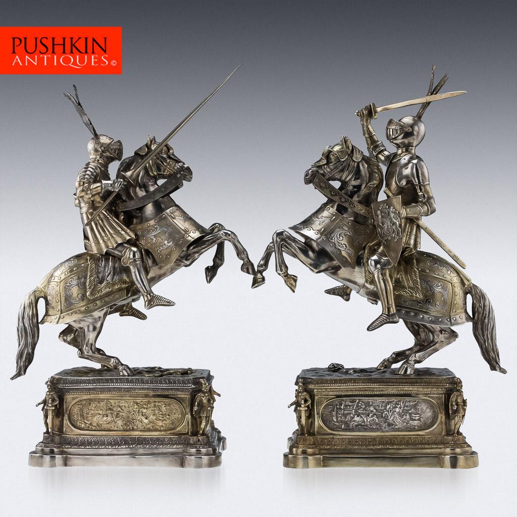 Solid silver pair of knight horseman figures, cr. 1900, Georg Roth & Co, Hanau, Germany