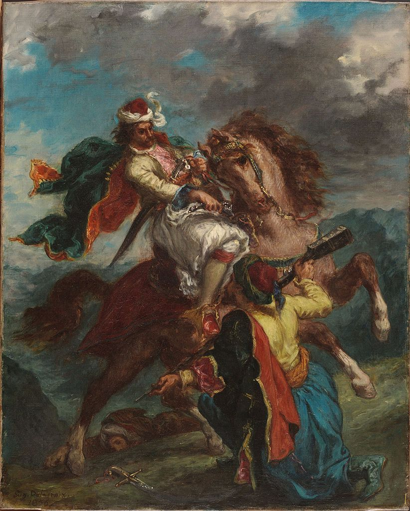 A Turk Surrenders to a Greek Horseman, 1856, Delacroix Eugène, France