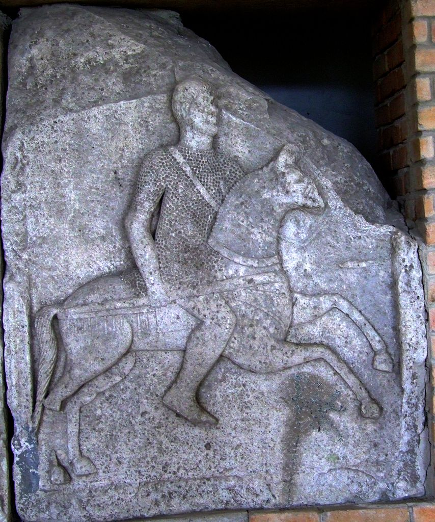 Tropeum Traiani Metope I showing a cavalryman carrying a shafted weapon, cr. 109 AD, Roman