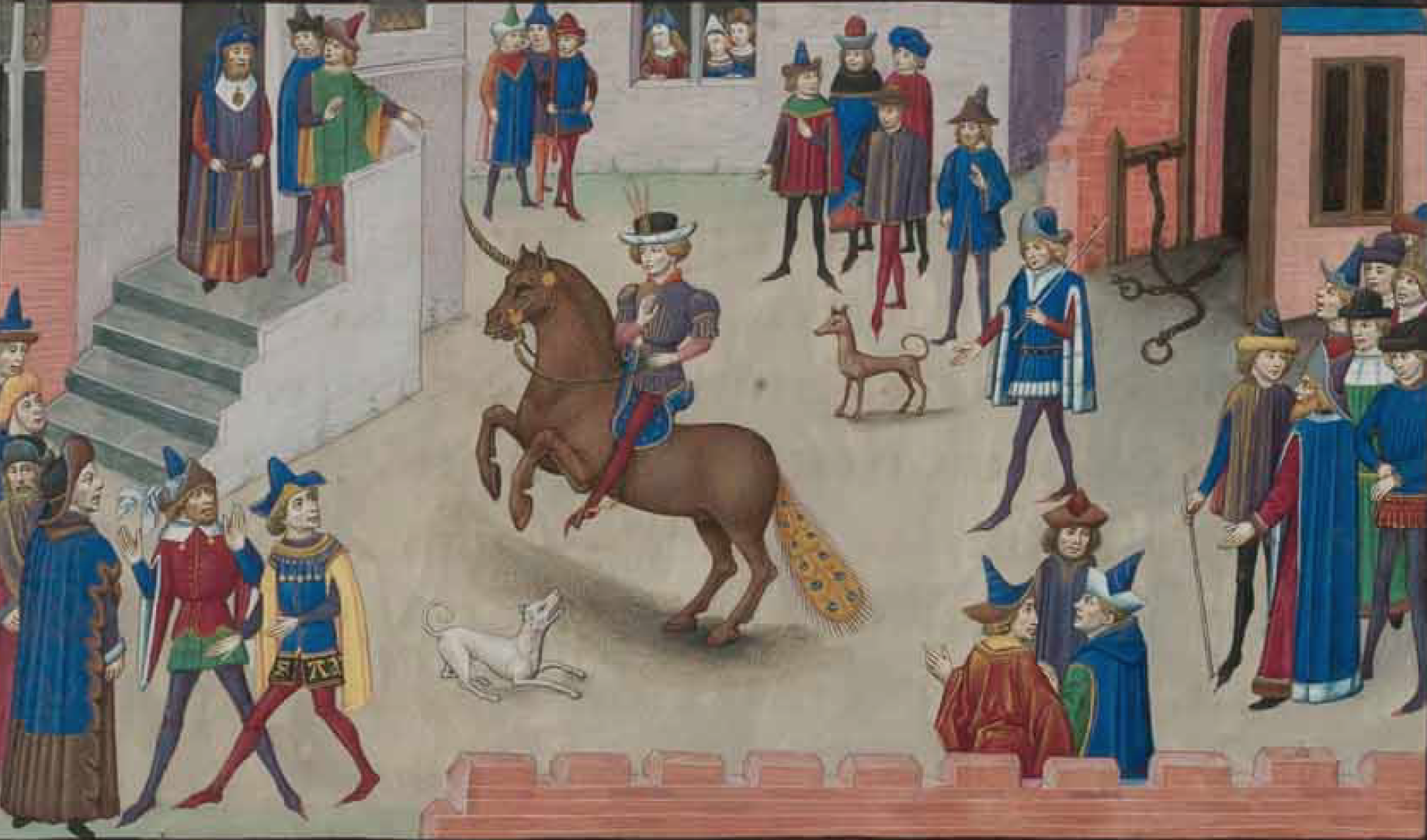 How Alexander the Great Mounted Bucephalus (a manuscript illustration), mid-1400s, Burgundy