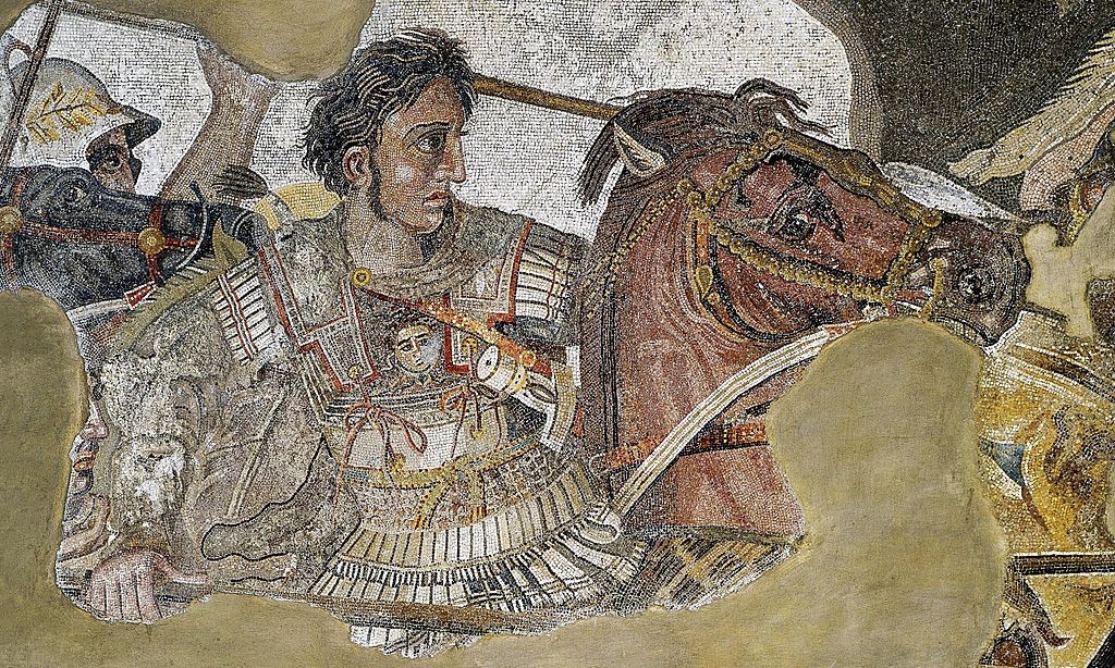 Mosaic showing the battle of Issus, detail showing Alexander the Great, circa 100 BC, Pompeii, Roman empire, perhaps after an earlier Greek painting of Philoxenus of Eretria (4th-3rd century BC)