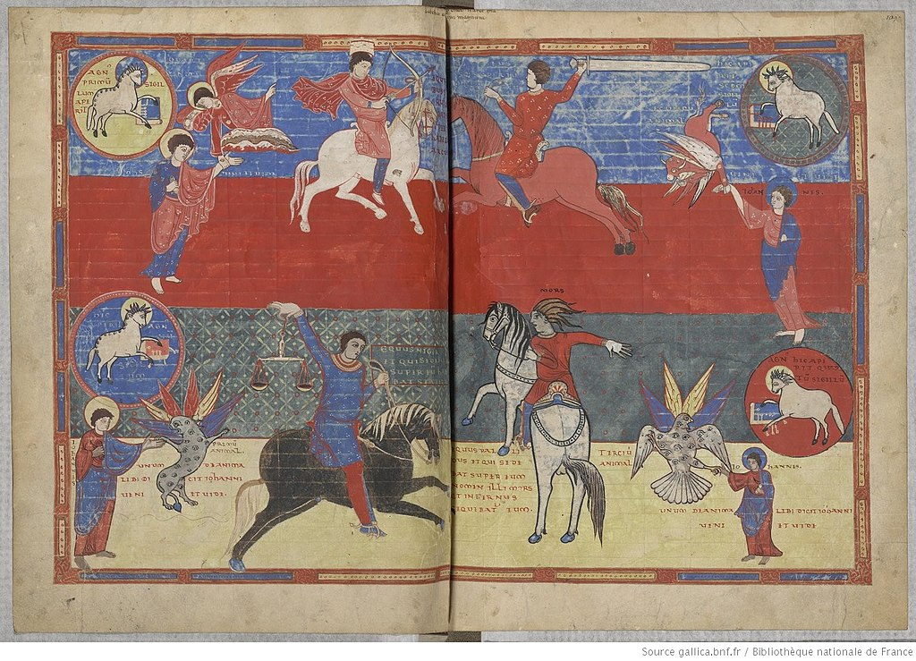 Four Horsemen of the Apocalypse, illustration of the Apocalypse of Saint-Sever, 11th century, French