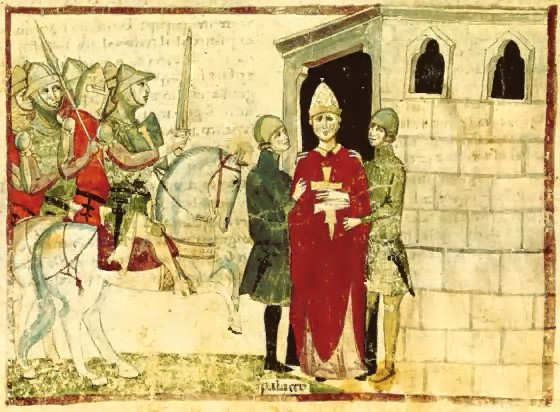 Nuova cronica illustration (attack of Pope Boniface VII at his Palace in Anagni, 1303), mid 14th century, Pacino di Buonaguida, Florence, Italy