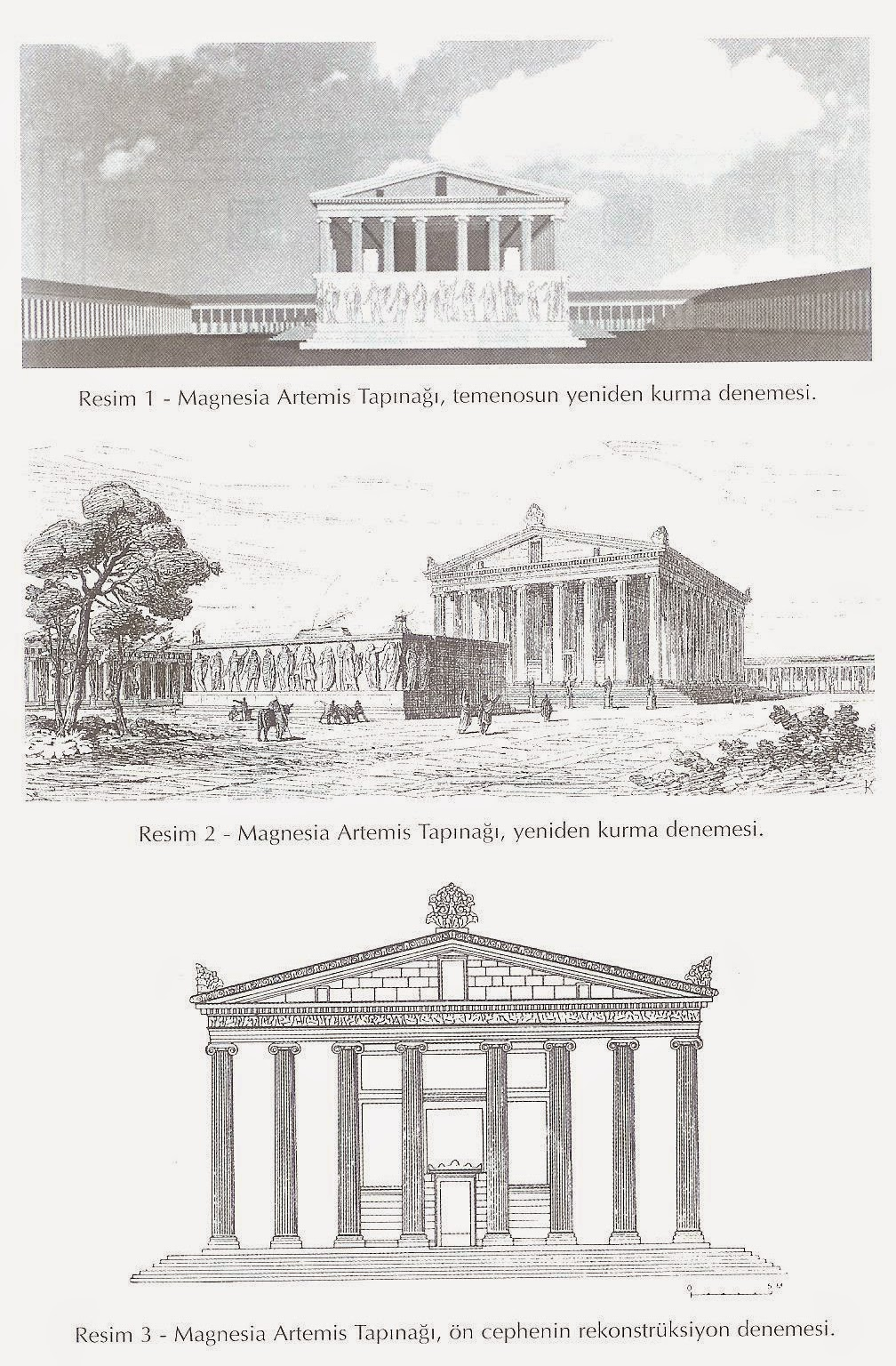 Suggested reconstructions of the temple of Artemis Leucophryene, 3rd-2nd century BC, Magnesia on the Maeander, Turkey