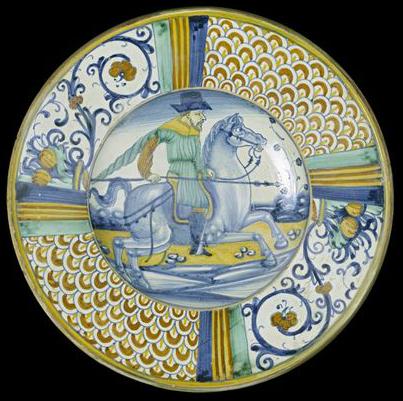 Dish with a horseman, cr. 1540-70, unknown, Deruta