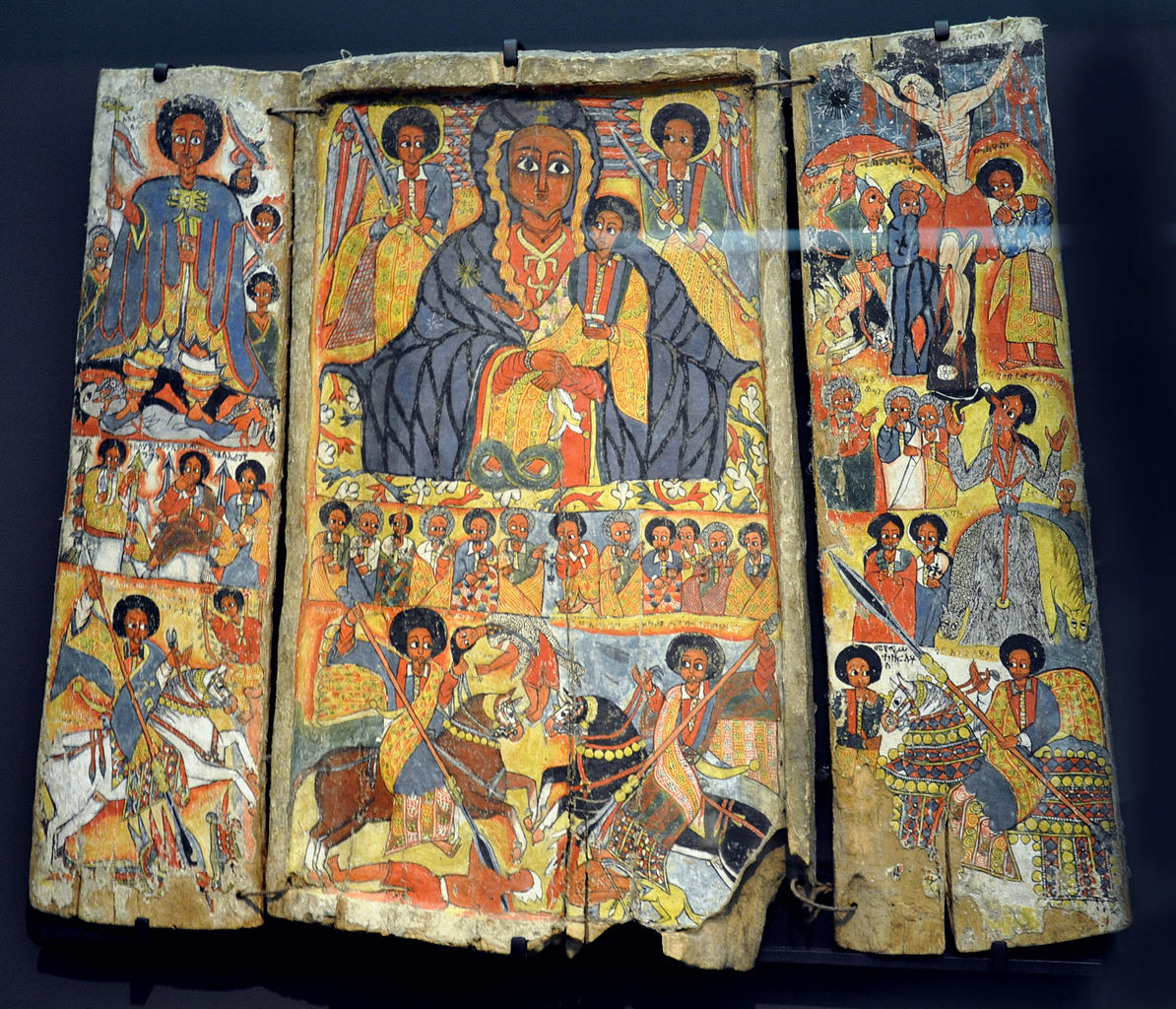 Great Triptych, tempera on fabric on wood, cr. 1700, Ethiopia