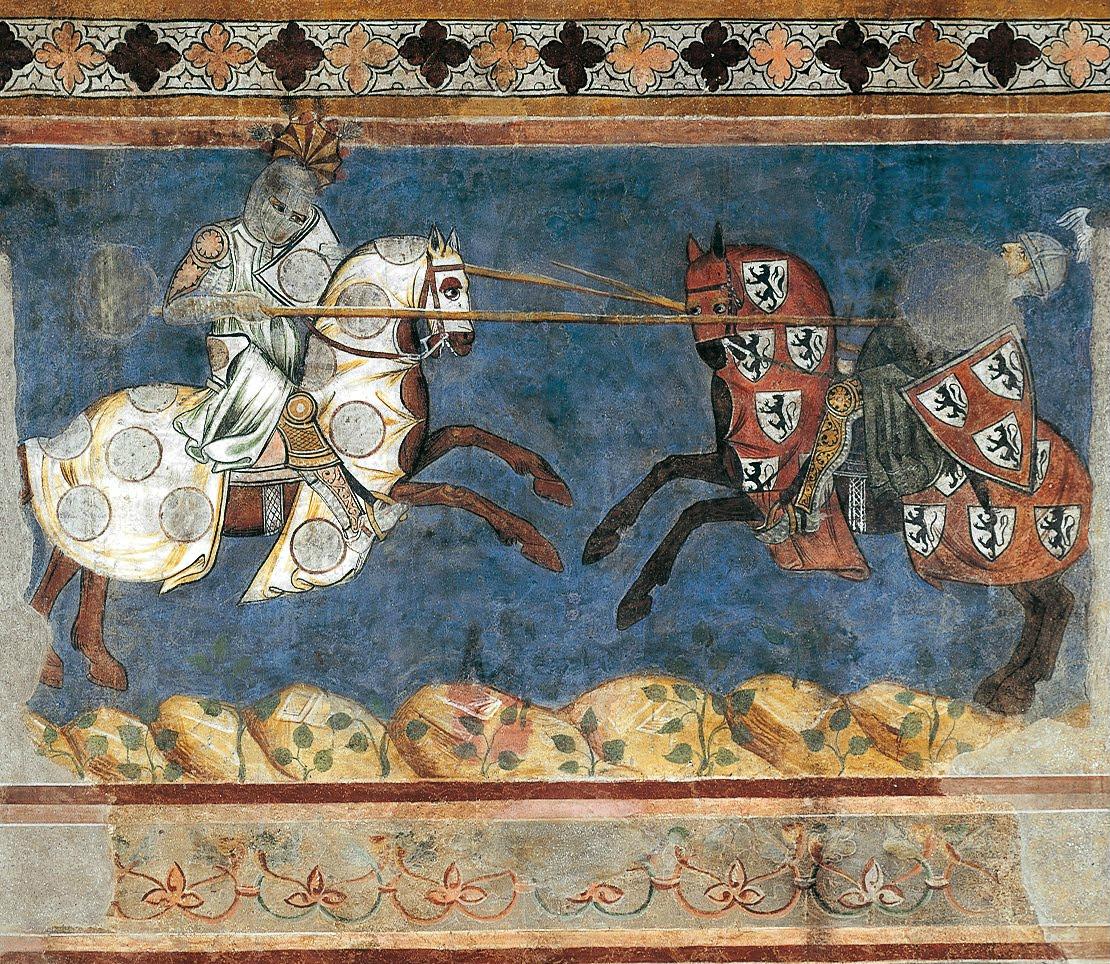 Tournament scene, fresco, 1289, Azzo di Masetto, Palazzo Comunale, San Gimignano, Italy