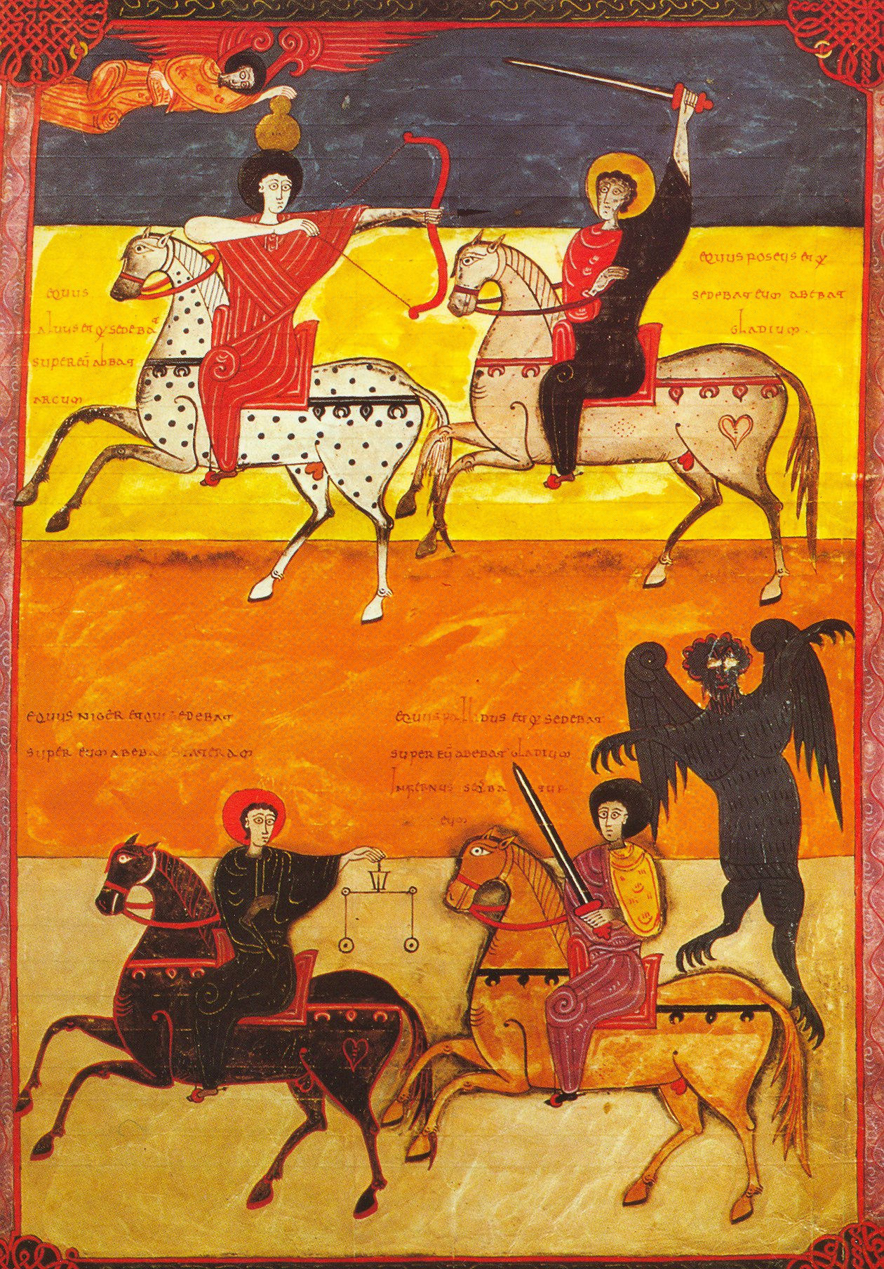 Four Horsemen Of Apocalypse, illustration of 'Beato of Valcavado', 1047, Beato of Facundus, León, Al-Andalus (now Spain)