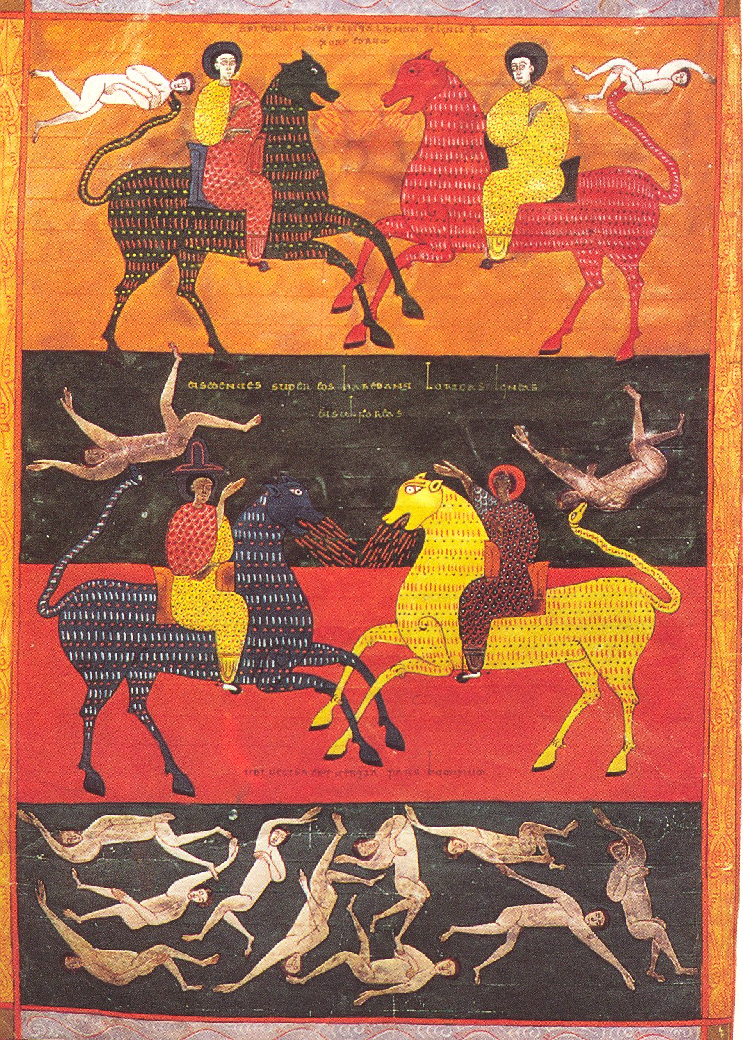 Four Horsemen Of Apocalypse (Sixth trumpet scene), illustration of 'Beato of Valcavado', 1047, Beato of Facundus, León, Al-Andalus (now Spain)
