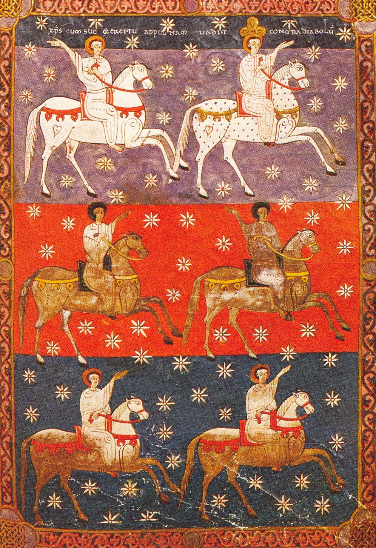 Four Horsemen Of Heaven, illustration of 'Beato of Valcavado', 1047, Beato of Facundus, León, Al-Andalus (now Spain)
