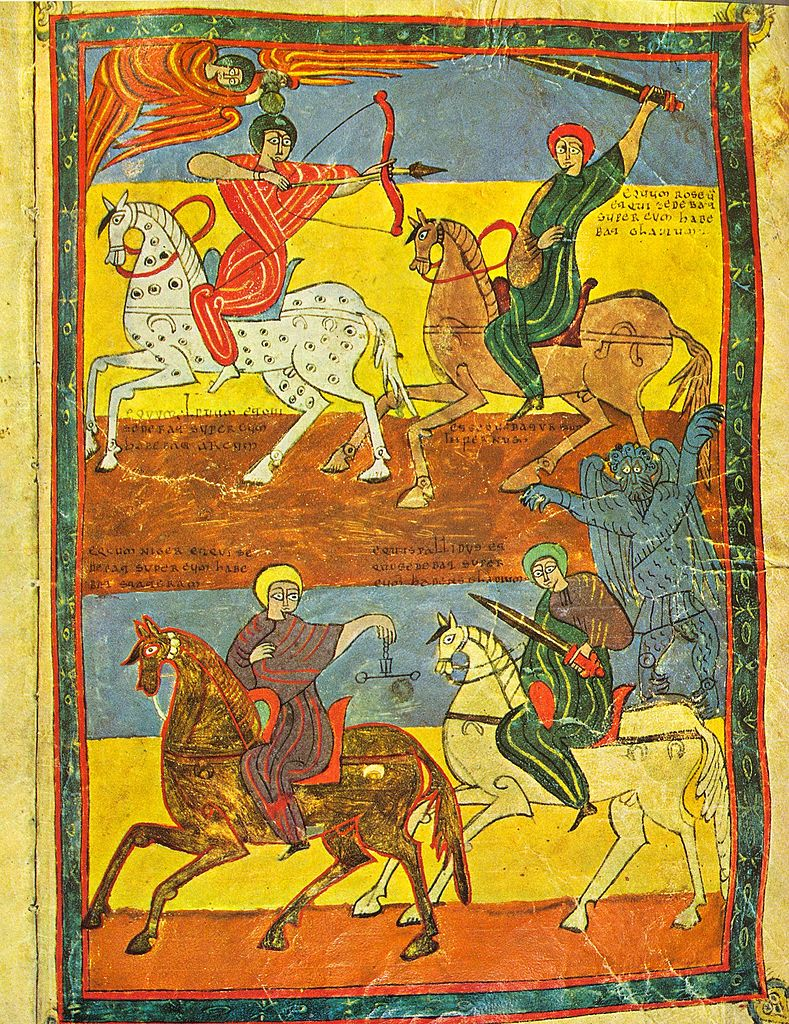 Four Horsemen Of Apocalypse, illustration of 'Beato of Valcavado', 970, Oveco, Palencia, Al-Andalus (now Spain)
