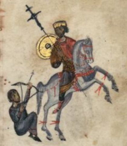 Saint Constantine the Great as warrior, illustration of 'Barberini psalter', 11th century, Constantinople (?), Byzantine Empire