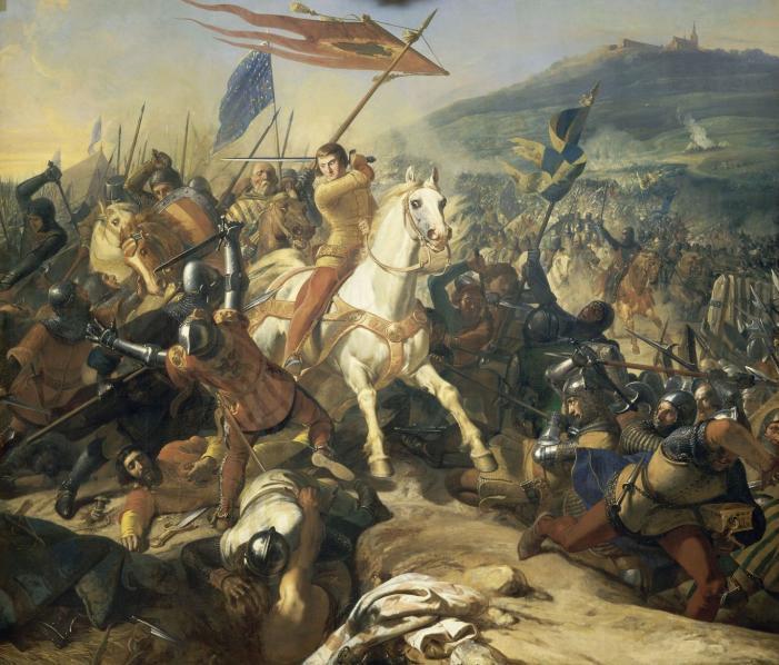 Battle of Mons-en-Pévèle (1304), cr. 1839, Charles-Philippe Larivière, Galerie des Batailles, Versailles, France