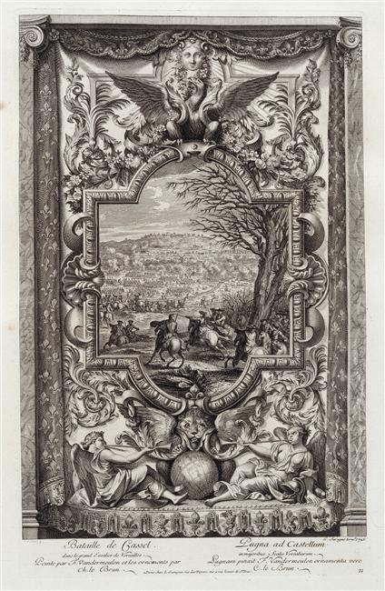 Battle of Cassel, 1720, Louis Surugue after Van der Meulen and Charles Le Brun, Paris, France