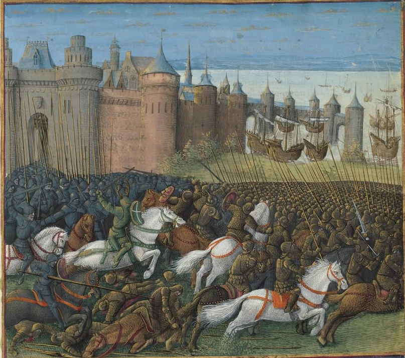 Battle of Tyre, 12 Nov 1187 - 1 Jan 1188, illustration to Passages d'outremer, 1472-75, Jean Colombe, Paris, France
