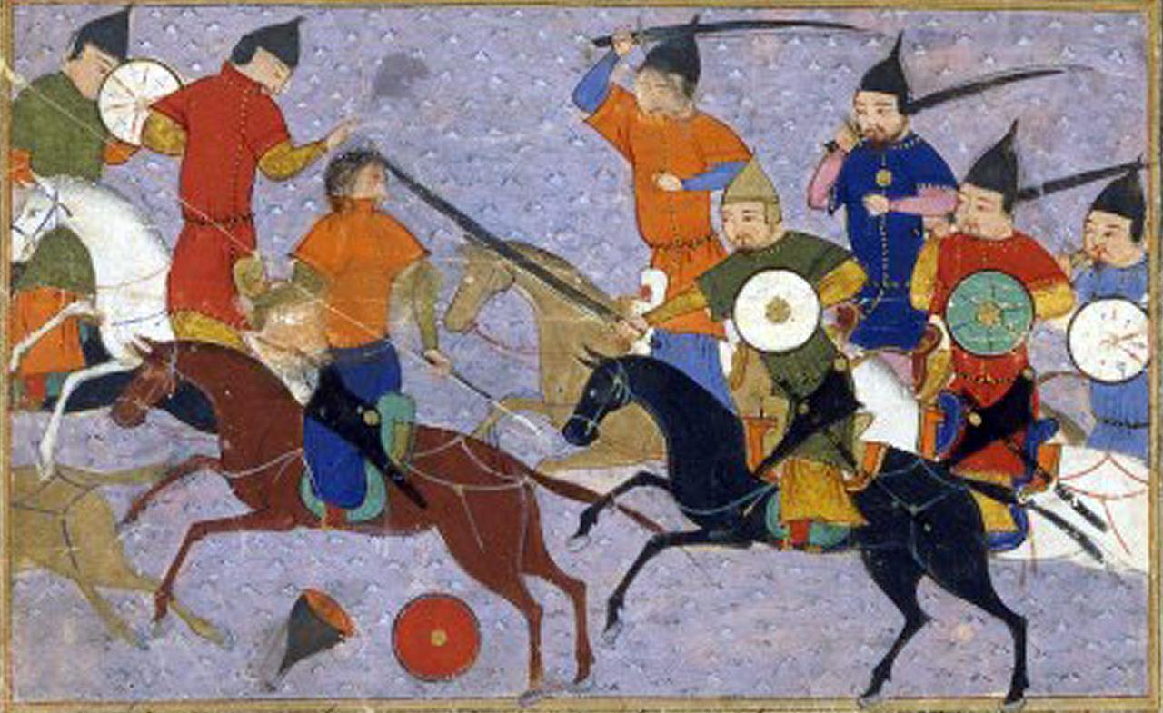Battle between Chinese and Mongolian armies (1211), illustration of Jami' al-tawarikh, 1430, Sayf al-Vâhidî, Herat, Persia