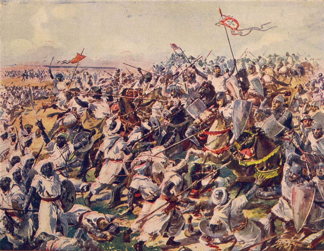Battle of Salado, in 'Pictures of the History of Portugal', 1917, Roque Gameiro, Portugal
