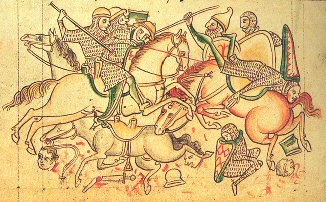 Battle of Damietta, 1218, illustration to Chronica Majora, 13th century, St. Albans, England