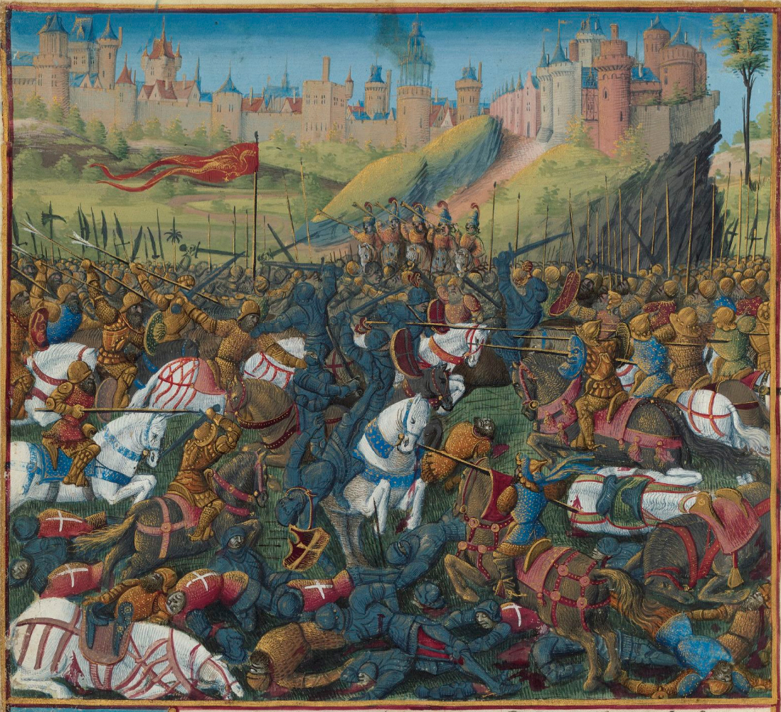 Battle Of Inab, 1149, illustration to Passages d'outremer, 1472-75, Jean Colombe, Paris, France