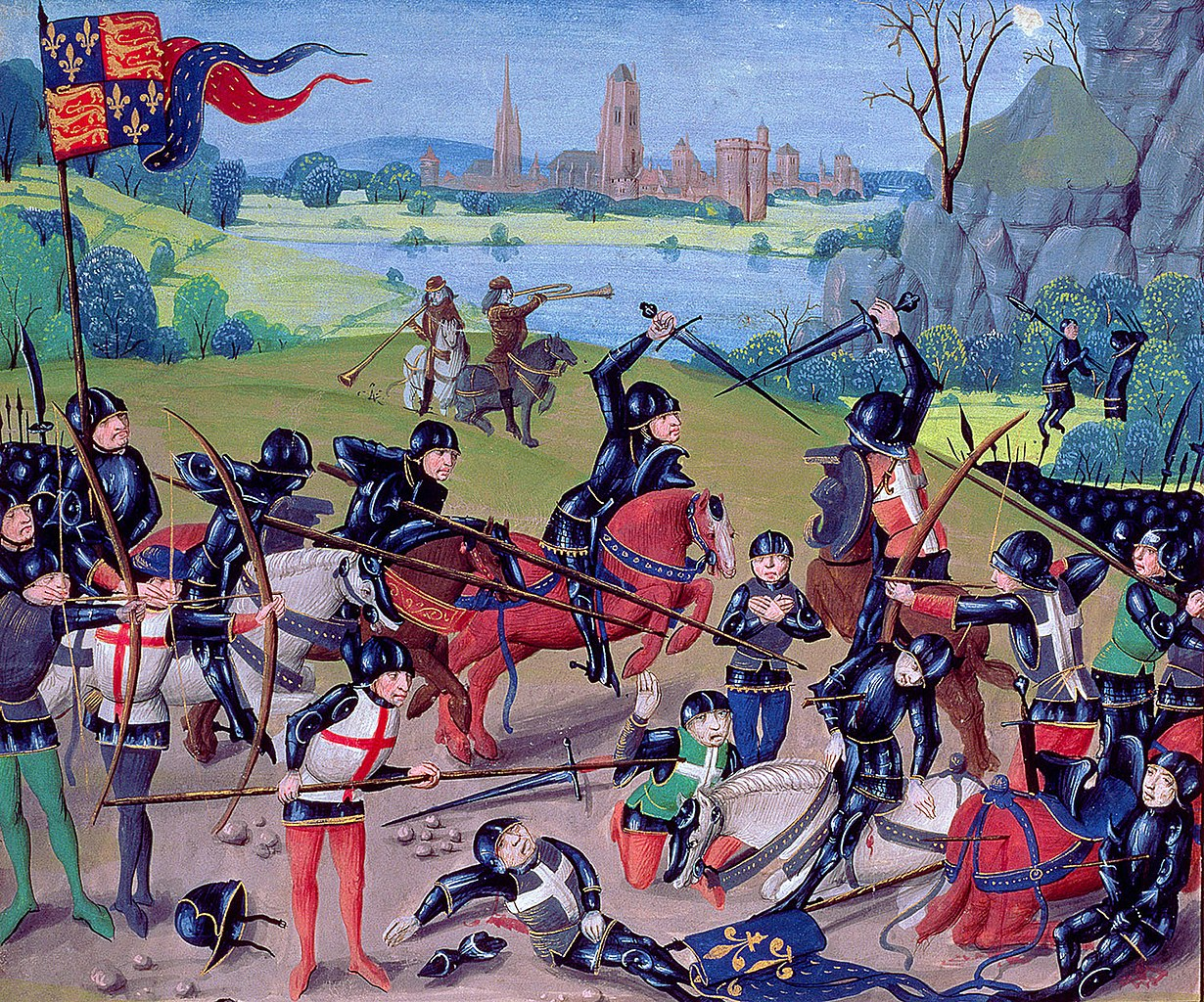 Battle of Agincourt, from the 'St. Alban's Chronicle' by Thomas Walsingham, 15th century, English with Flemish illuminations