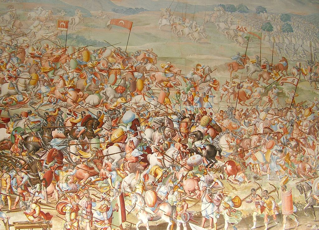 The Battle of Higueruela (1431) in the Gallery of Battles, cr. 1582, Fabrizio Castello, Orazio Cambiaso and Lazzaro Tavarone, Royal Monastery of San Lorenzo de El Escorial, Madrid, Spain