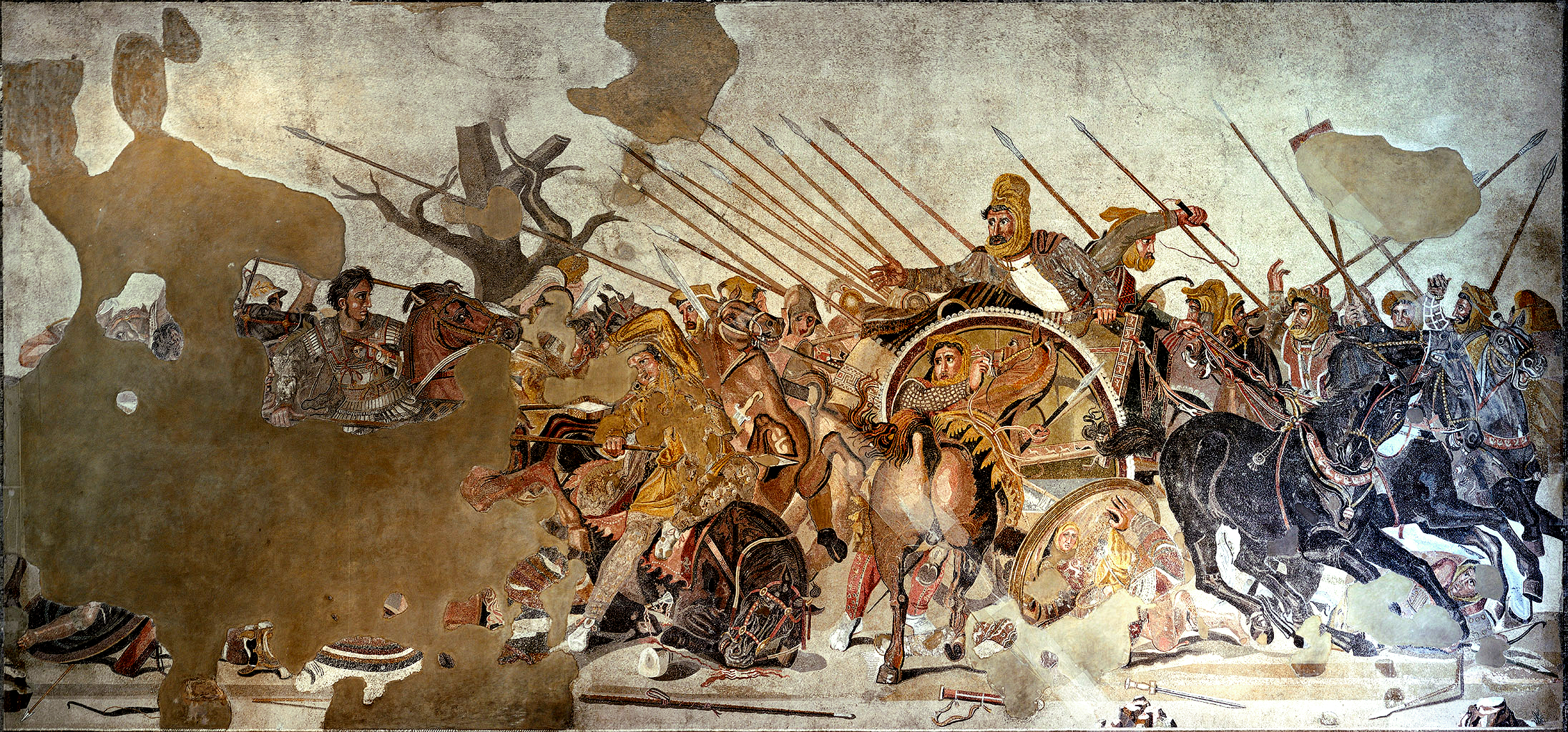 Mosaic showing the battle of Issus, circa 100 BC, Pompeii, Roman empire, perhaps after an earlier Greek painting of Philoxenus of Eretria (4th-3rd century BC)