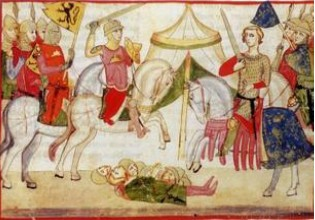 Nuova cronica illustration (battle of Mons-en-Pevele, 1304), mid 14th century, Pacino di Buonaguida, Florence, Italy