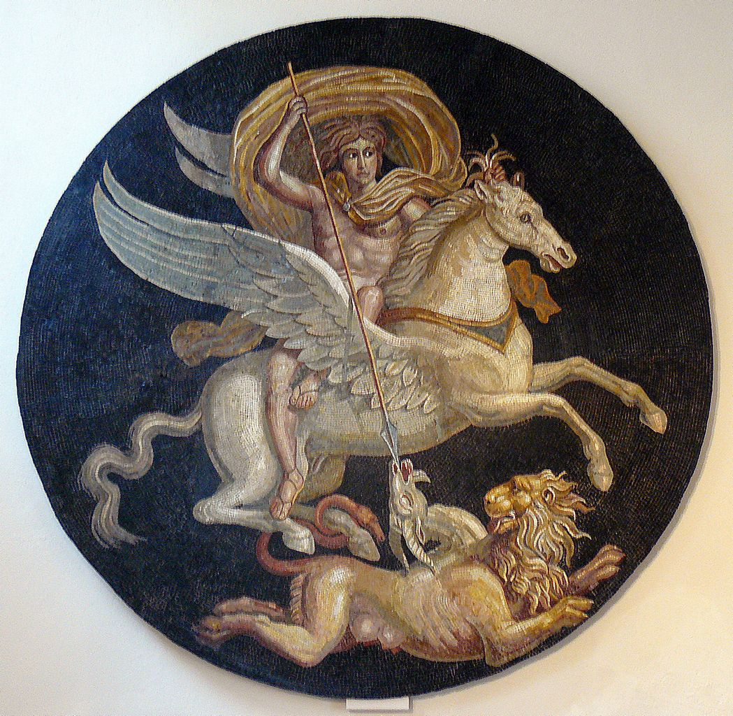 Mosaic depicting Bellerophon on rearing Pegasus trampling Chimaera, 2nd half of 2nd century BC, Autun, France (Roman culture)