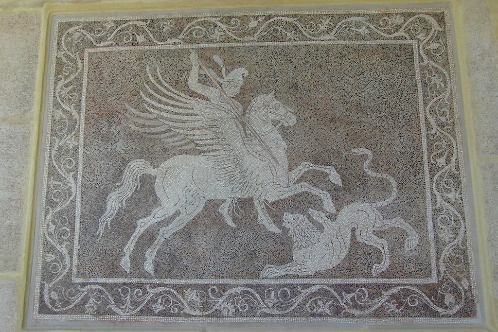 Pebble mosaic depicting Bellerophon killing Chimaera, cr. 300-270 BC, Rhodos (Greece)