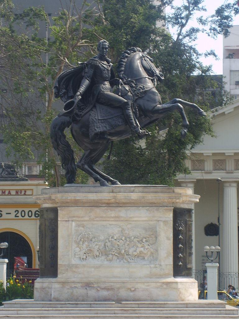 Statue of Simon Bolivar, 1859, Adamo Tadolini, Lima, Peru