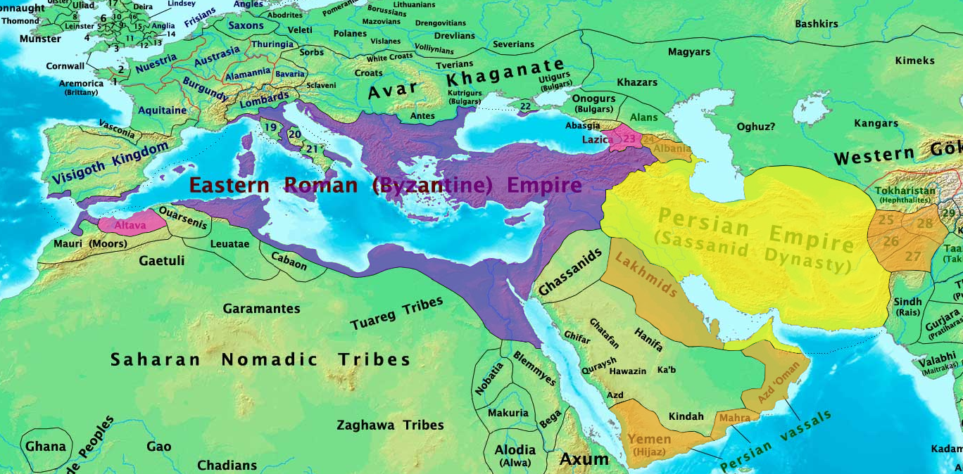 Map of Byzantine and Sassanid Empires in 600 AD