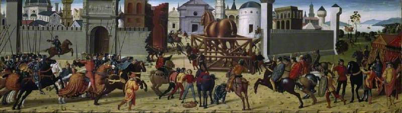 The Siege of Troy, the Wooden Horse,1490-5 (?), Biagio d'Antonio