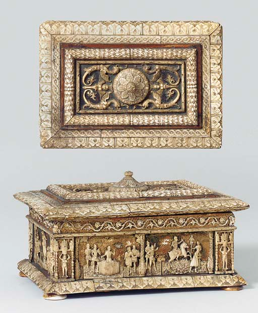 Wood and ivory casket carved with scenes including Marcus Curtius sacrifice, cr. 1500, Italy