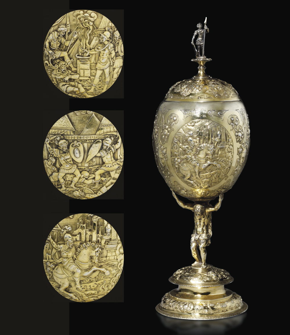 A lidded cup with scenes including Marcus Curtius sacrifice, cr. 1580, Joerg (Georg) Plainchhiern (?), Landshut (?), Germany