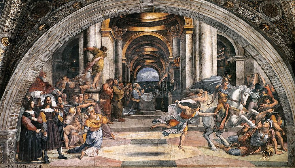 Expulsion of Heliodorus from the temple, 1511, fresco, Raphael, Vatican, Italy