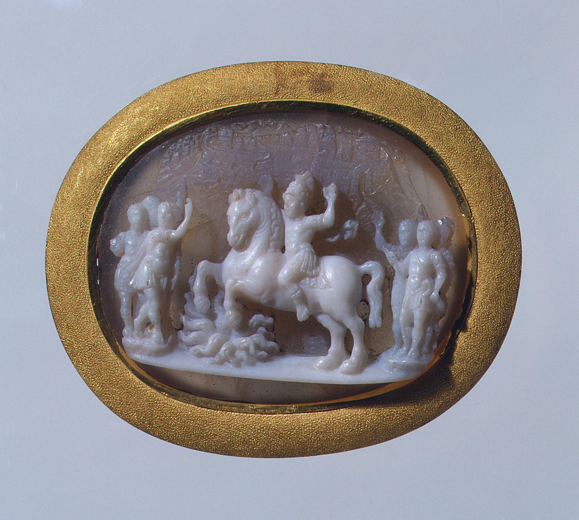 Cameo depicting the feat of Marcus Curtius, third quarter of the 16th century, probably Francesco Tortorino, Italy