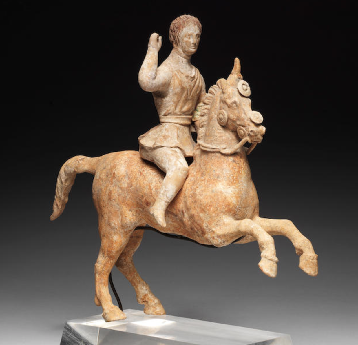 Terracotta horse and rider, 4th - 3rd century BC, Canosa, Apulia, Italy