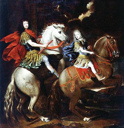 Equestrian portrait of Carlo Emmanuele II of Savoy with his son and heir Vittorio Amedeo, Prince of Piedmont,1673, Giovanni Battista Brambilla