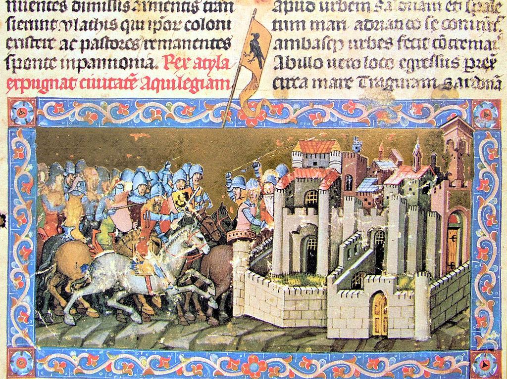 Attila besieges Aquileia (452), 1350-73, Chronicon Pictum, Kingdom of Hungary