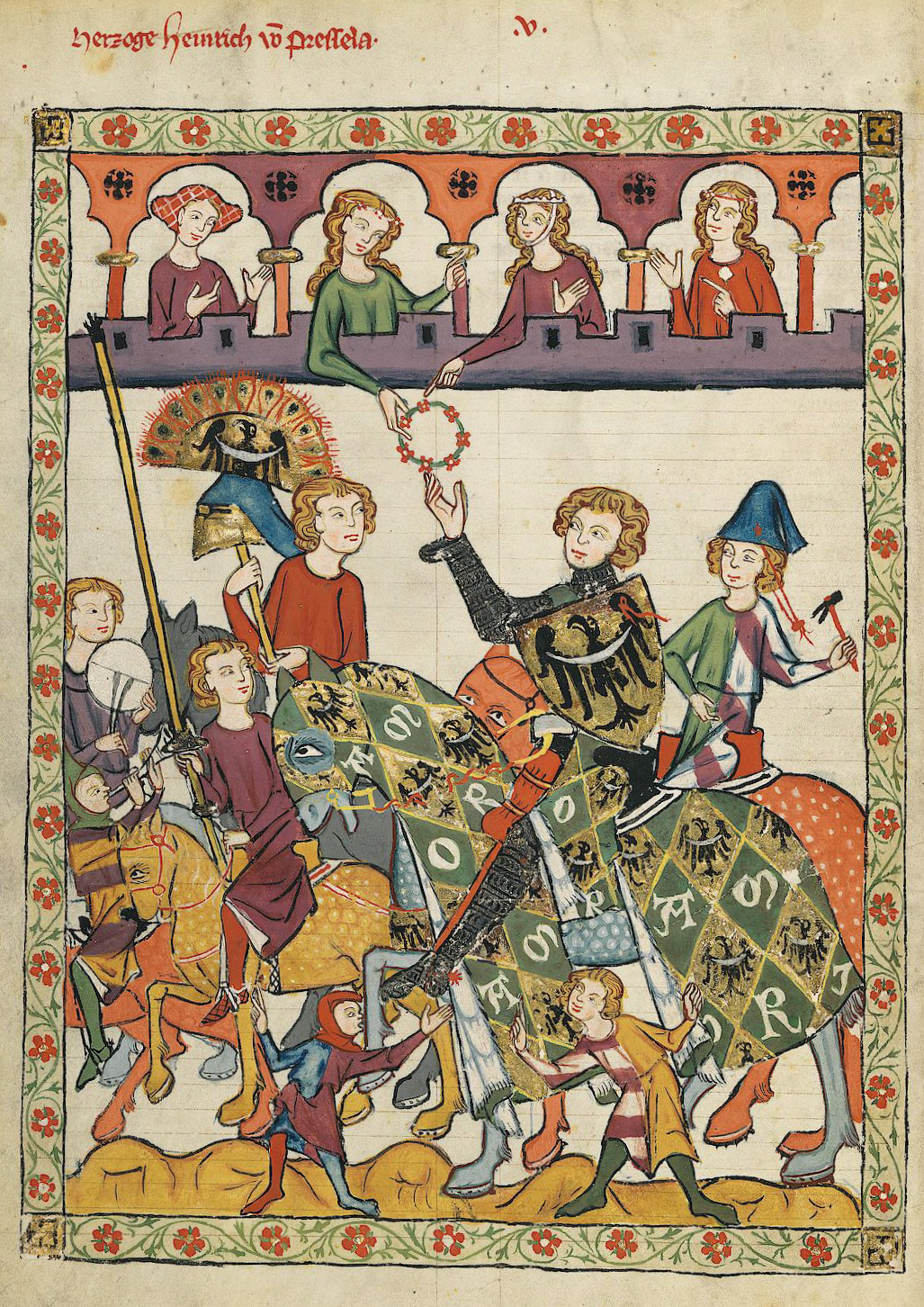 A knight receiving a lady's favour at a tournament, illustration of Codex Manesse, cr. 1304 or cr. 1340, Zürich, Switzerland