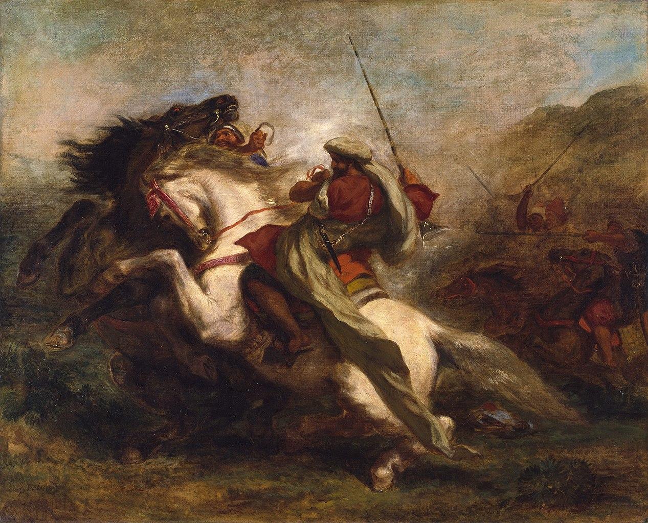 Collision of Moorish Horsemen, 1843-4, Delacroix Eugène, France